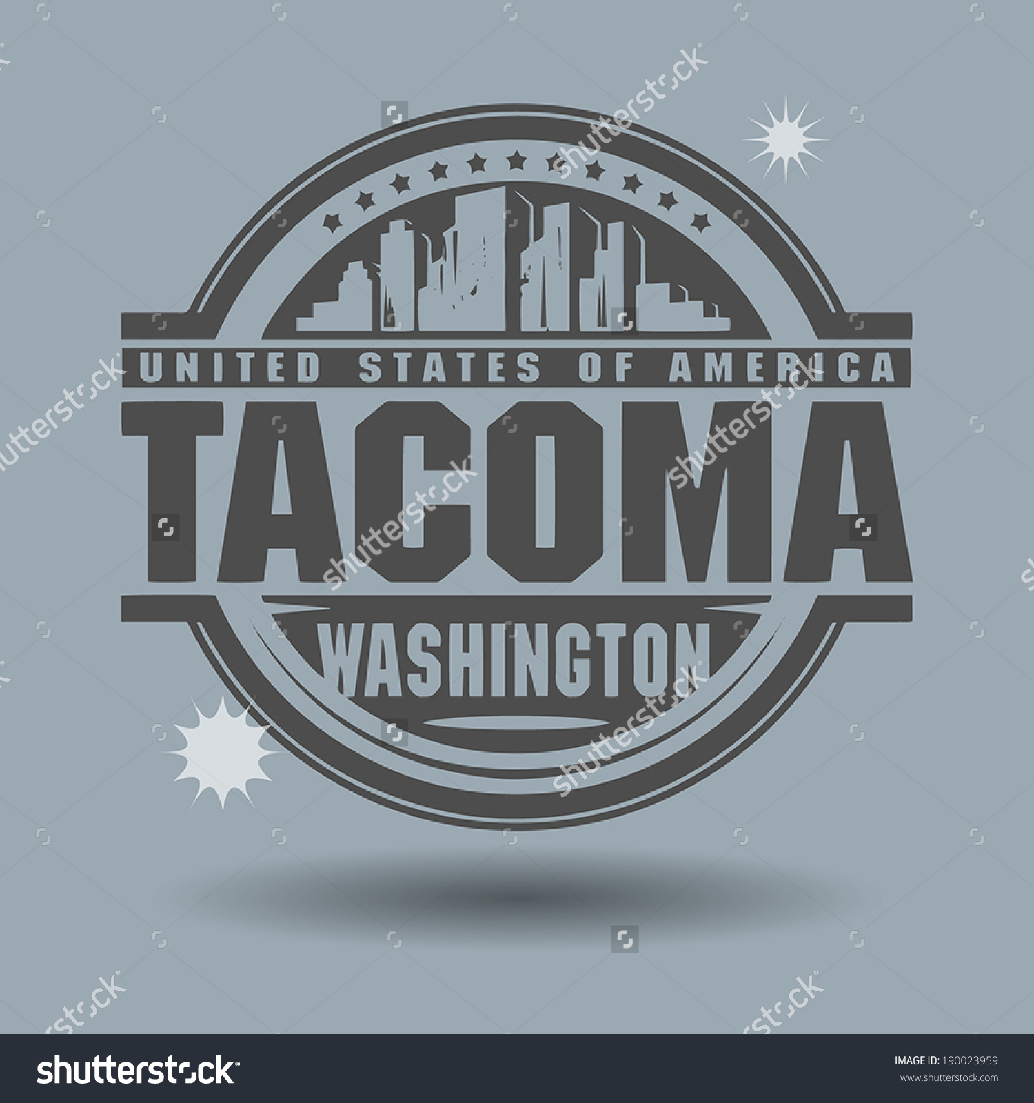 Stamp Label Text Tacoma Washington Inside Stock Vector 190023959.