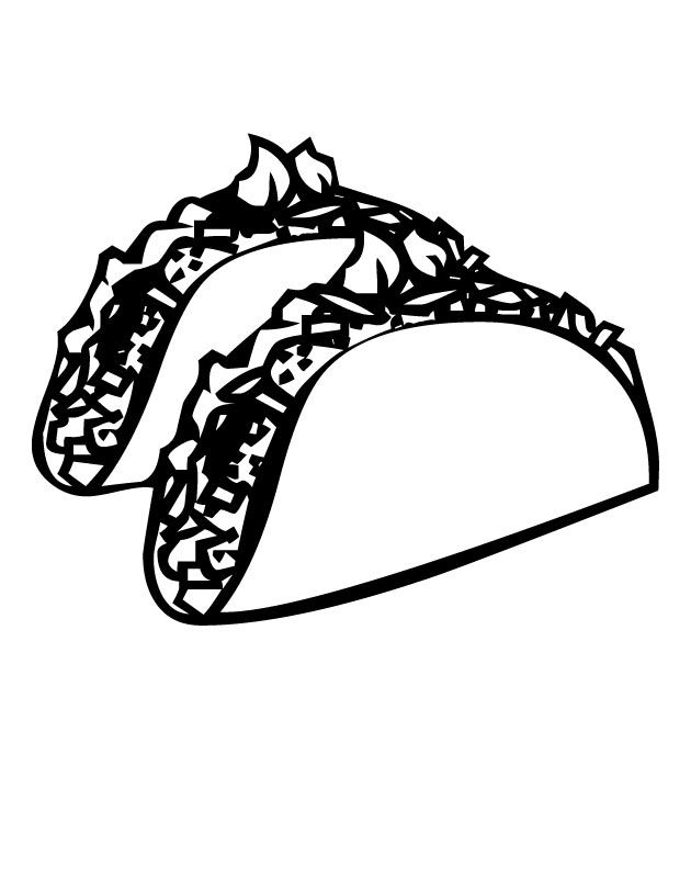 Printable Tacos coloring page from FreshColoring.com.