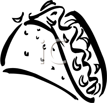 Single Black and White Taco Clipart Image.