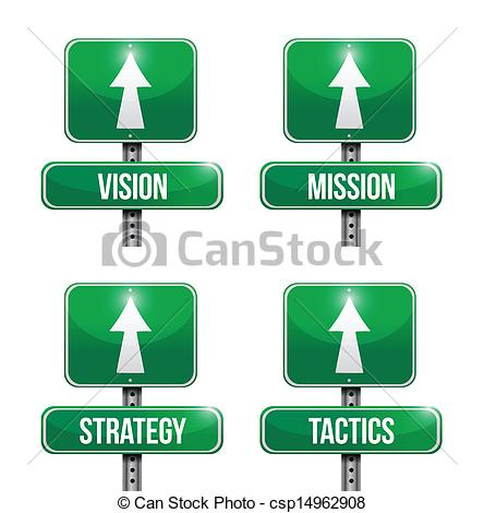 Vector Clipart of vision, mission, strategy and tactic road sign.