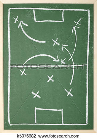 Stock Photo of chalkboard classroom soccer tactics team sport.