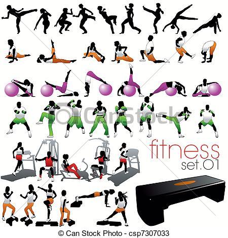 Vectors of 40 Fitness Silhouettes Set csp7307033.