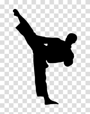 Man silhouette illustration, Karate Kick Martial arts.