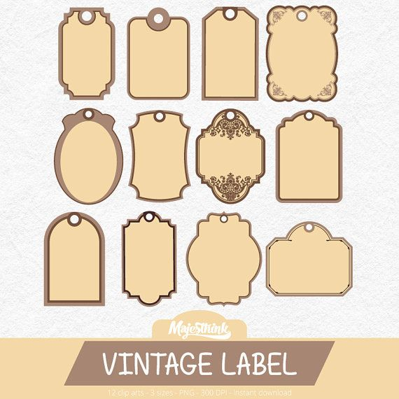 Clip Art VINTAGE LABEL with label or tag shape in by.