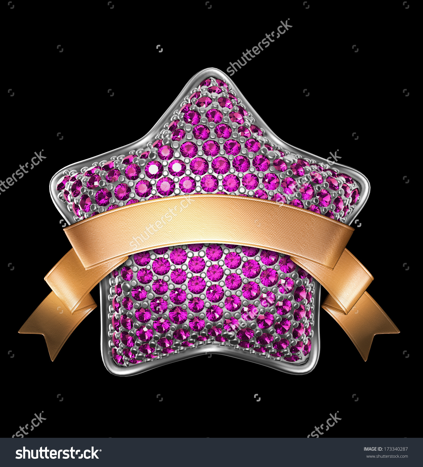 Silver Star With Pink Gems And Blank Gold Ribbon Tag, Clip.