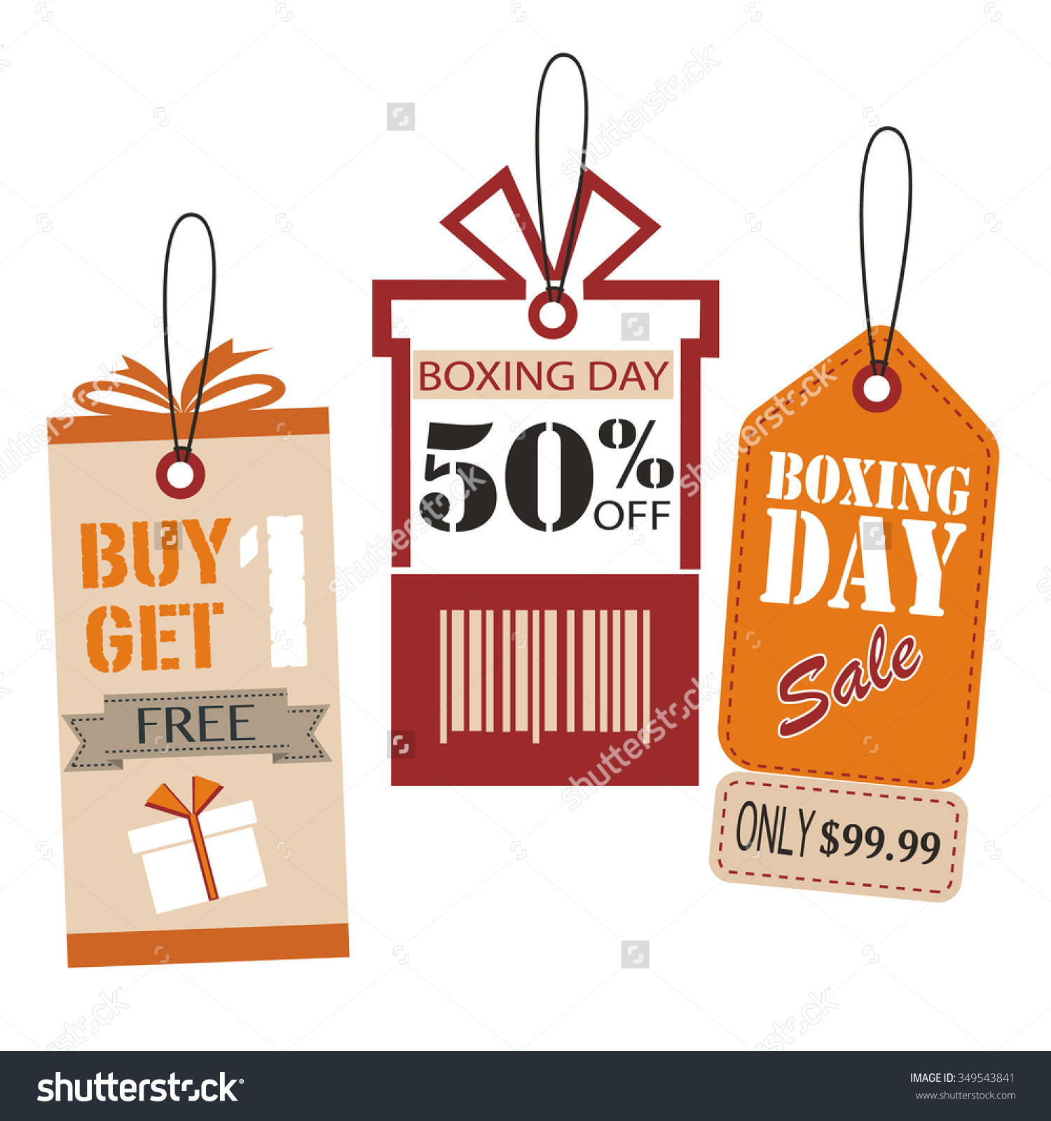 Price Tags Design Set. Boxing Day Price Tags Design. Vector.