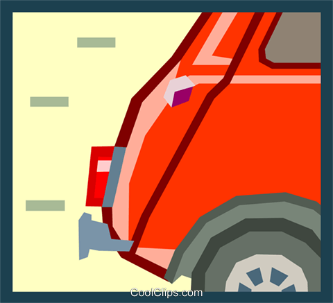 tail end of an mini car Royalty Free Vector Clip Art illustration.