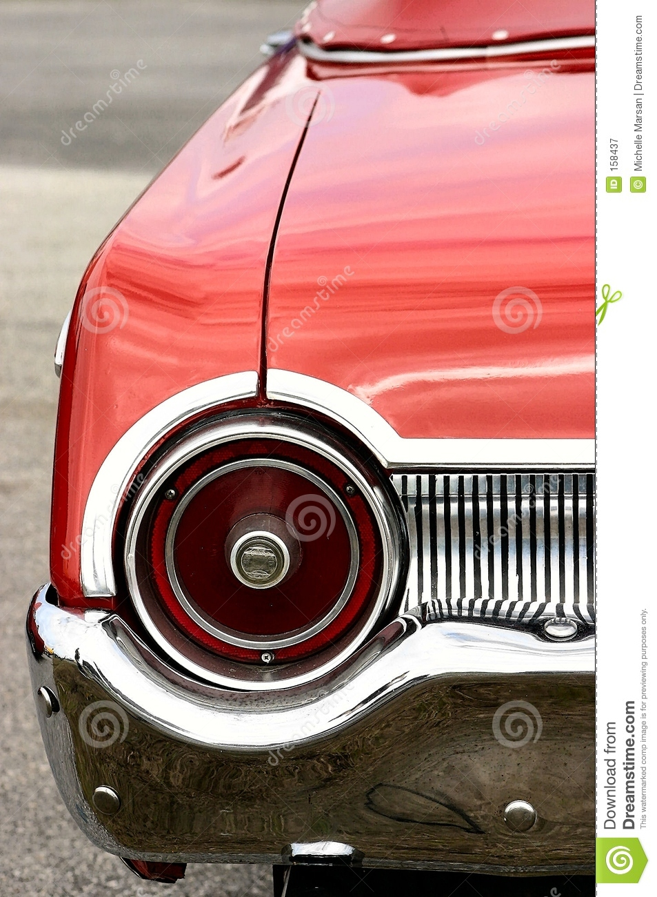 Red Antique Convertible Automobile Round Tail Light Royalty Free.