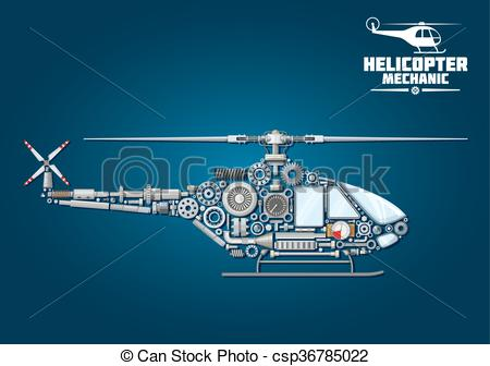 Vector Illustration of Silhouette of mechanical detailed.