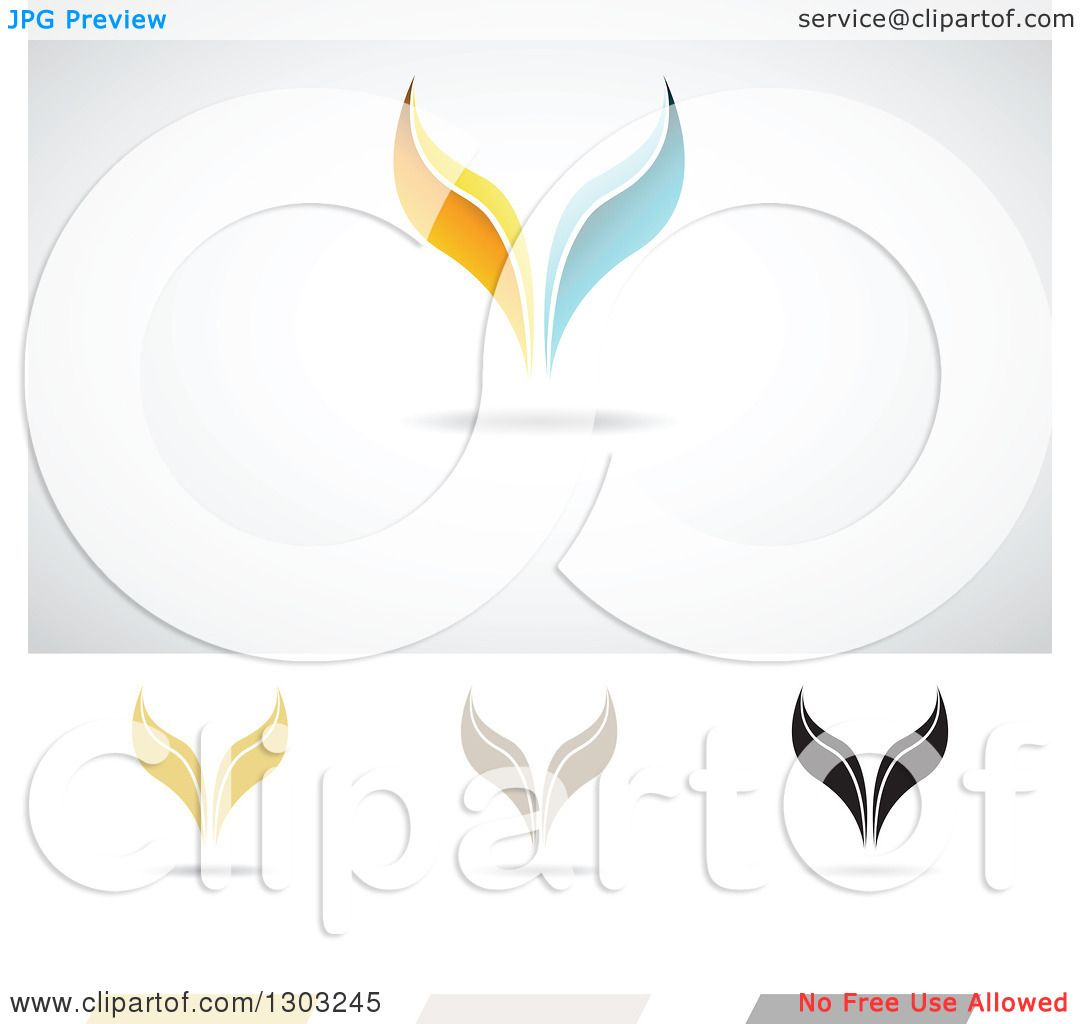 Clipart of Whale Tail Fin Designs.