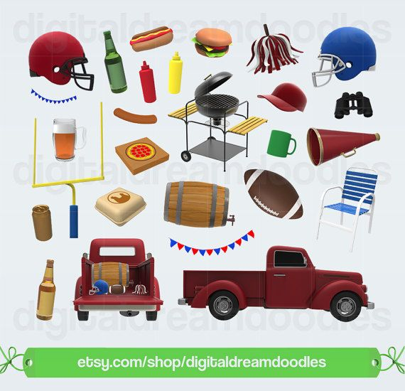 Football Clipart, Tailgate Clip Art, Tail Gate Party Graphic.