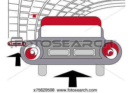 Stock Illustration of Taillights of car in tunnel x75629598.
