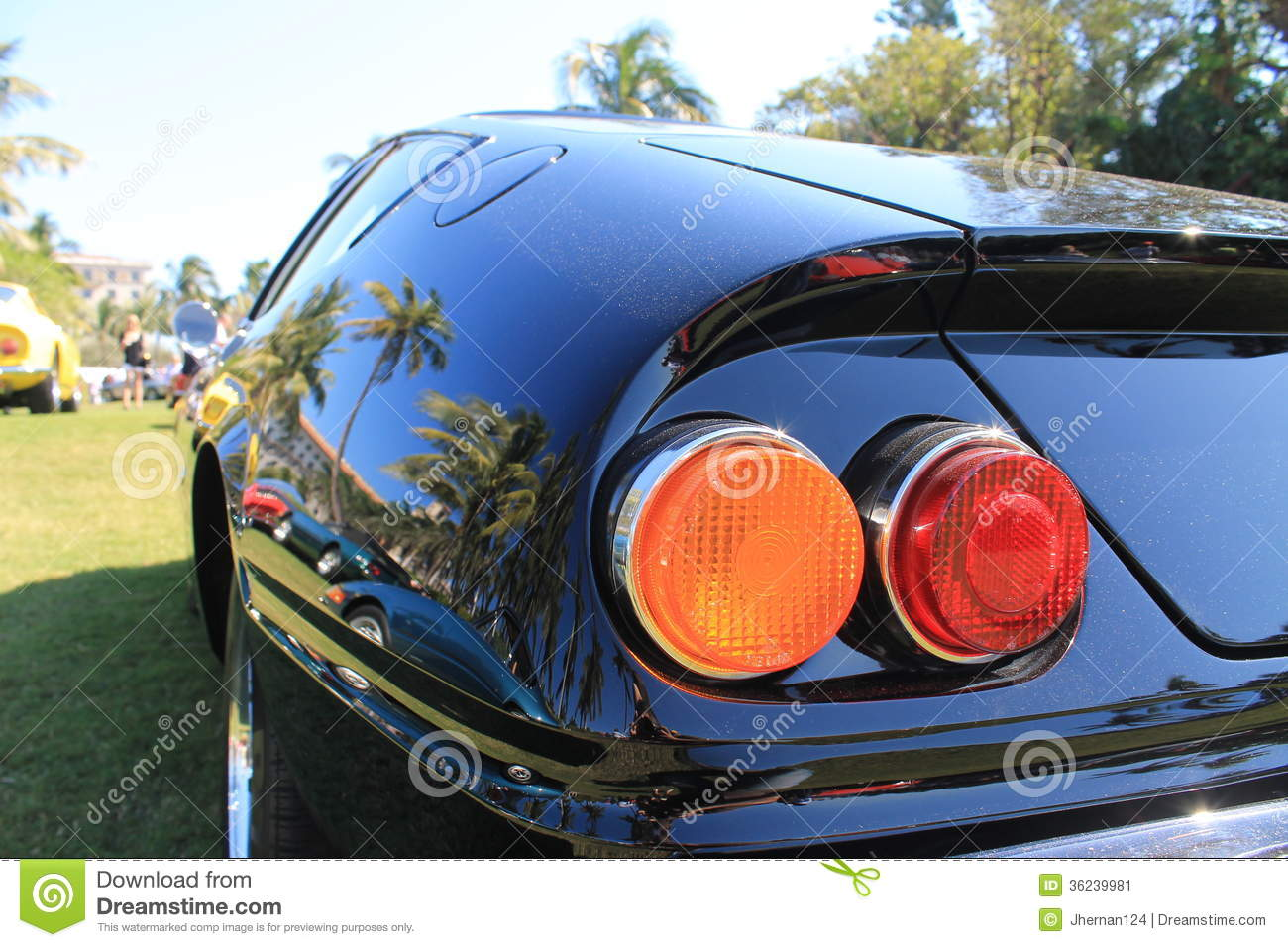 Rear of car with tail lights clipart.