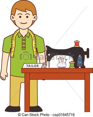 Vector Clip Art of Tailor doodle cartoon design illustration.