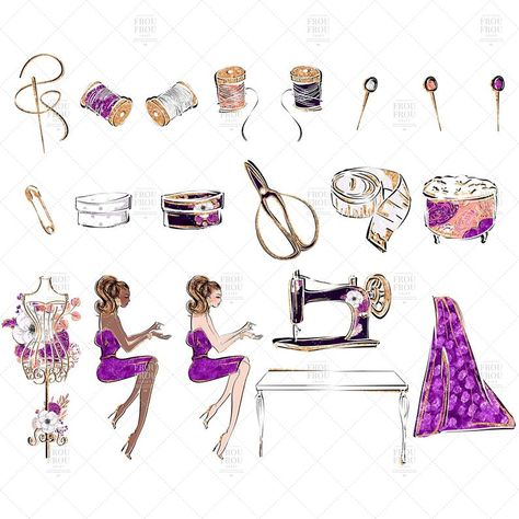 Sewing Clip Art, Fashion Tailor Clipart, Planner Girl.