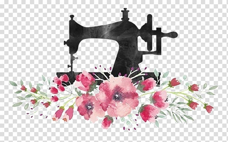 Black sewing machine and flowers illustration, Tailor Sewing.