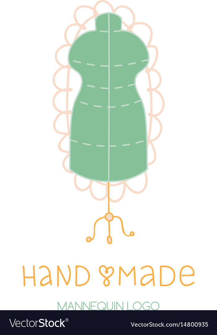 Hand made logo tailor dummy mannequin hobby icon.