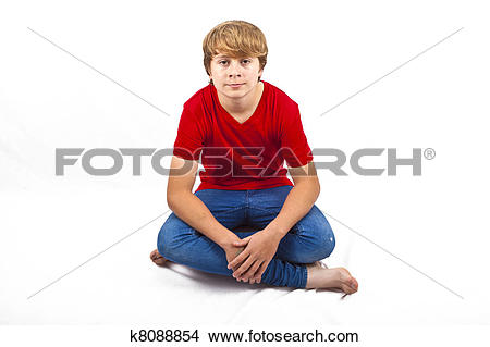 Stock Photo of smart boy with red shirt sitting in tailor seat at.