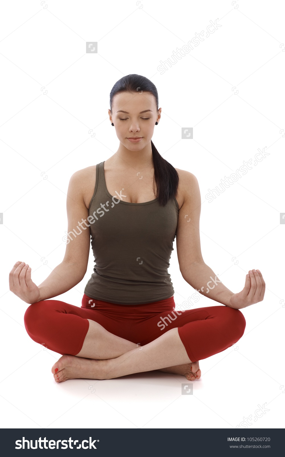 Young Girl Practicing Yoga, Sitting In Tailor Seat, Relaxing Eyes.