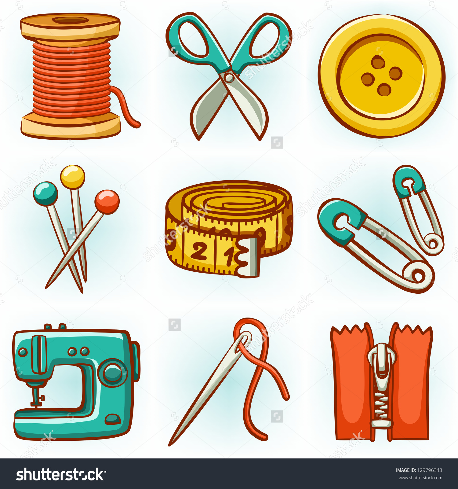 Set 9 Sewing Tools Icons Stock Vector 129796343.