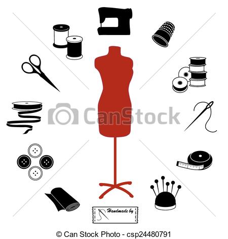 Vectors Illustration of Sewing and Tailoring Icons.