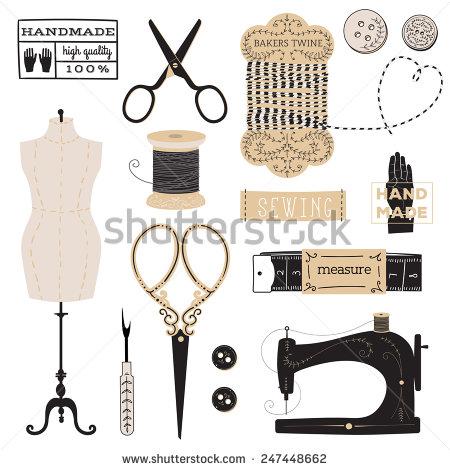 Vintage Vector Tailors Tools Scissors Measuring Stock Vector.