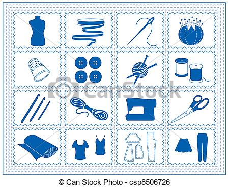Clip Art Vector of Sewing, Tailor, Knit, Crochet Icons.