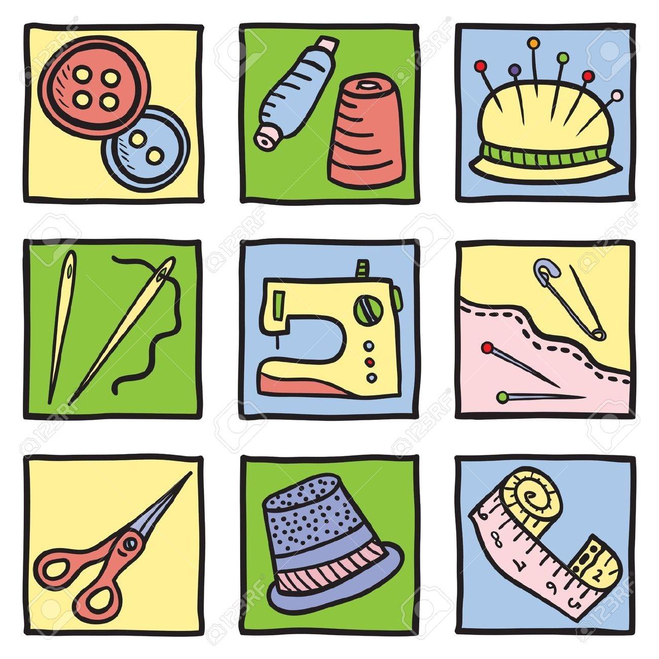 Sewing Tools Clip Art.