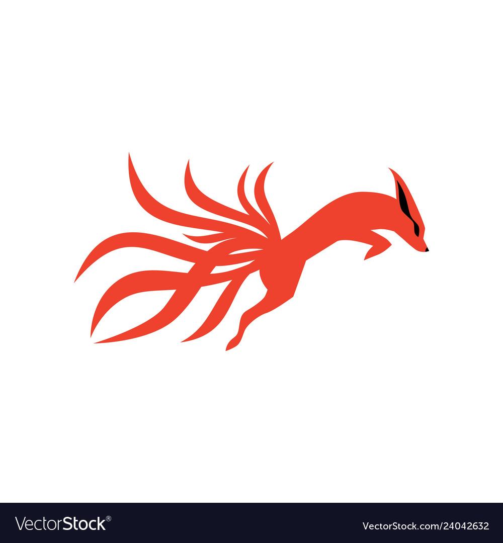 Nine tails fox logo icon.