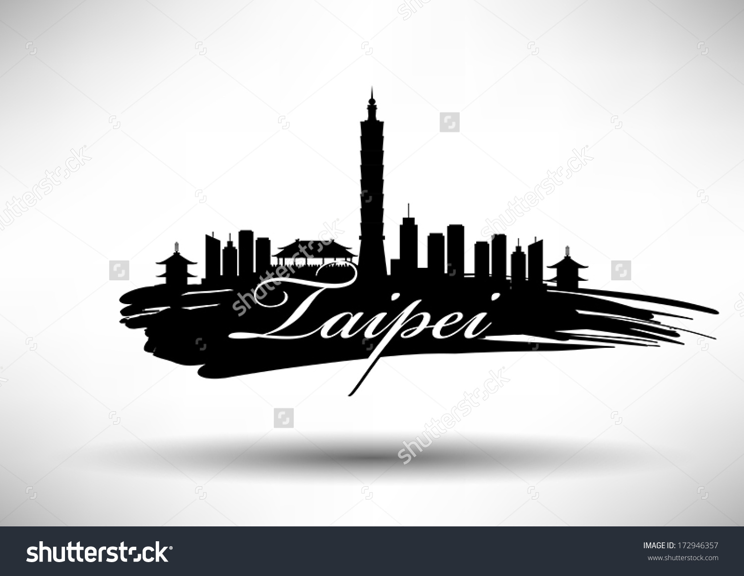 Taipei City Skyline Design Stock Vector 172946357.