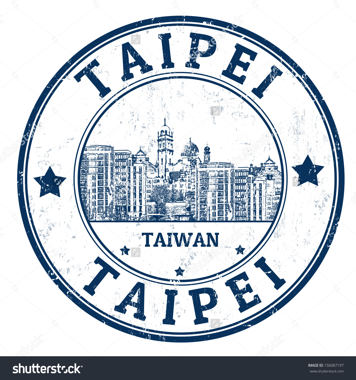 Grunge Rubber Stamp Name Taipei City Stock Vector 156087197.