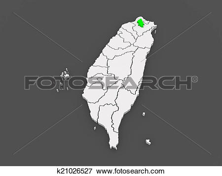 Stock Illustration of Map of Taipei City. Taiwan. k21026527.
