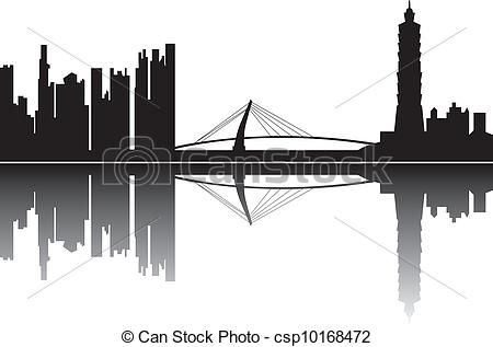 Vectors Illustration of taipei skyline with the 101 tower.