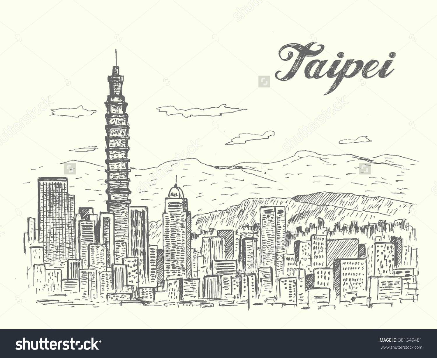 Taipei City Skylinetaiwansketch Styleisolatedvector Illustration.