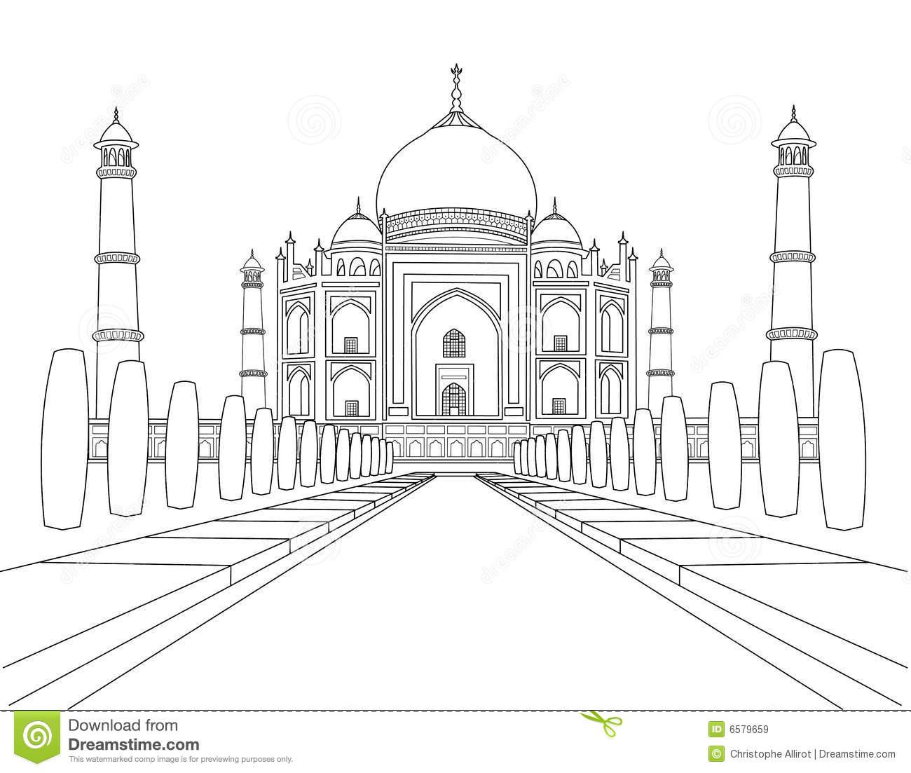 Taj mahal clipart clipground for Taj mahal coloring page