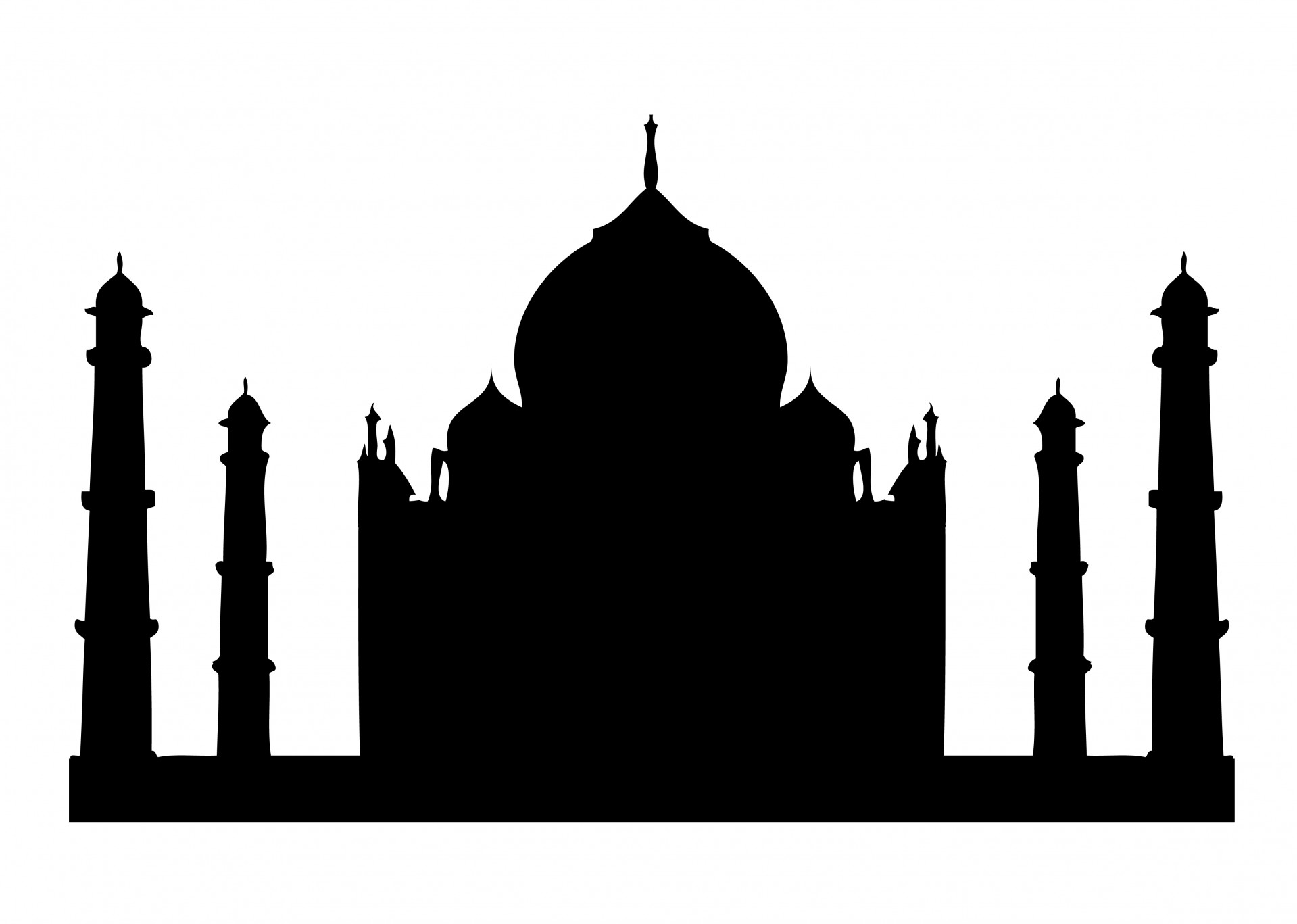 Taj Mahal Silhouette Png.