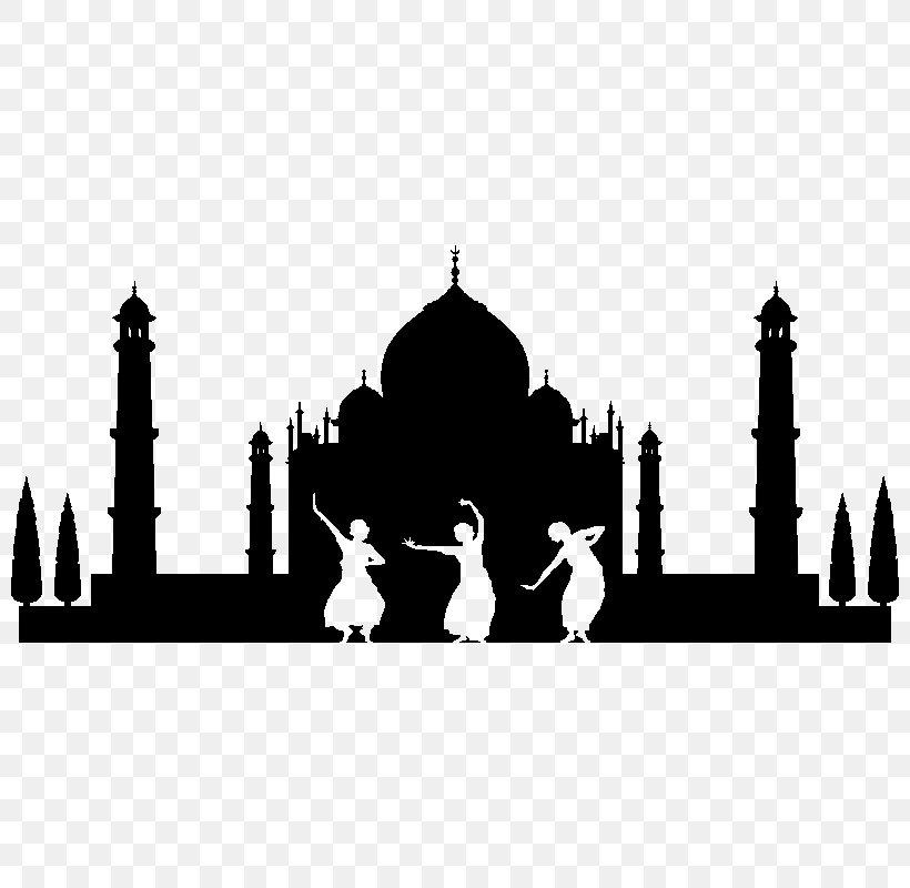 Black Taj Mahal Vector Graphics Silhouette Illustration, PNG.