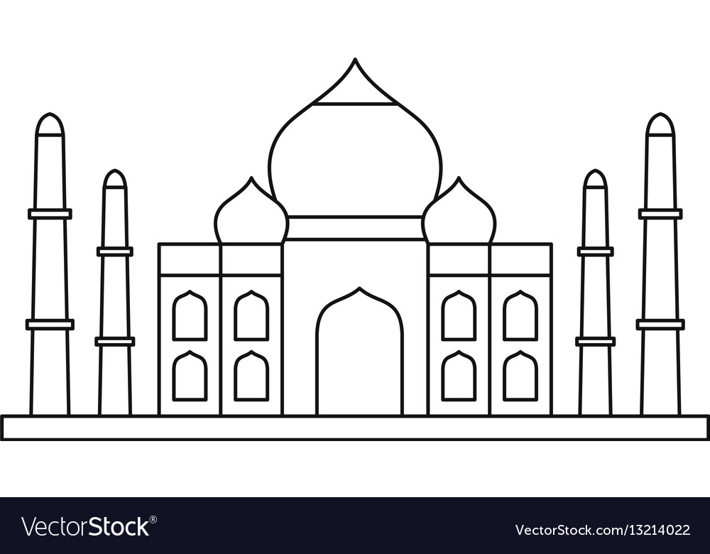 Taj mahal icon outline style.