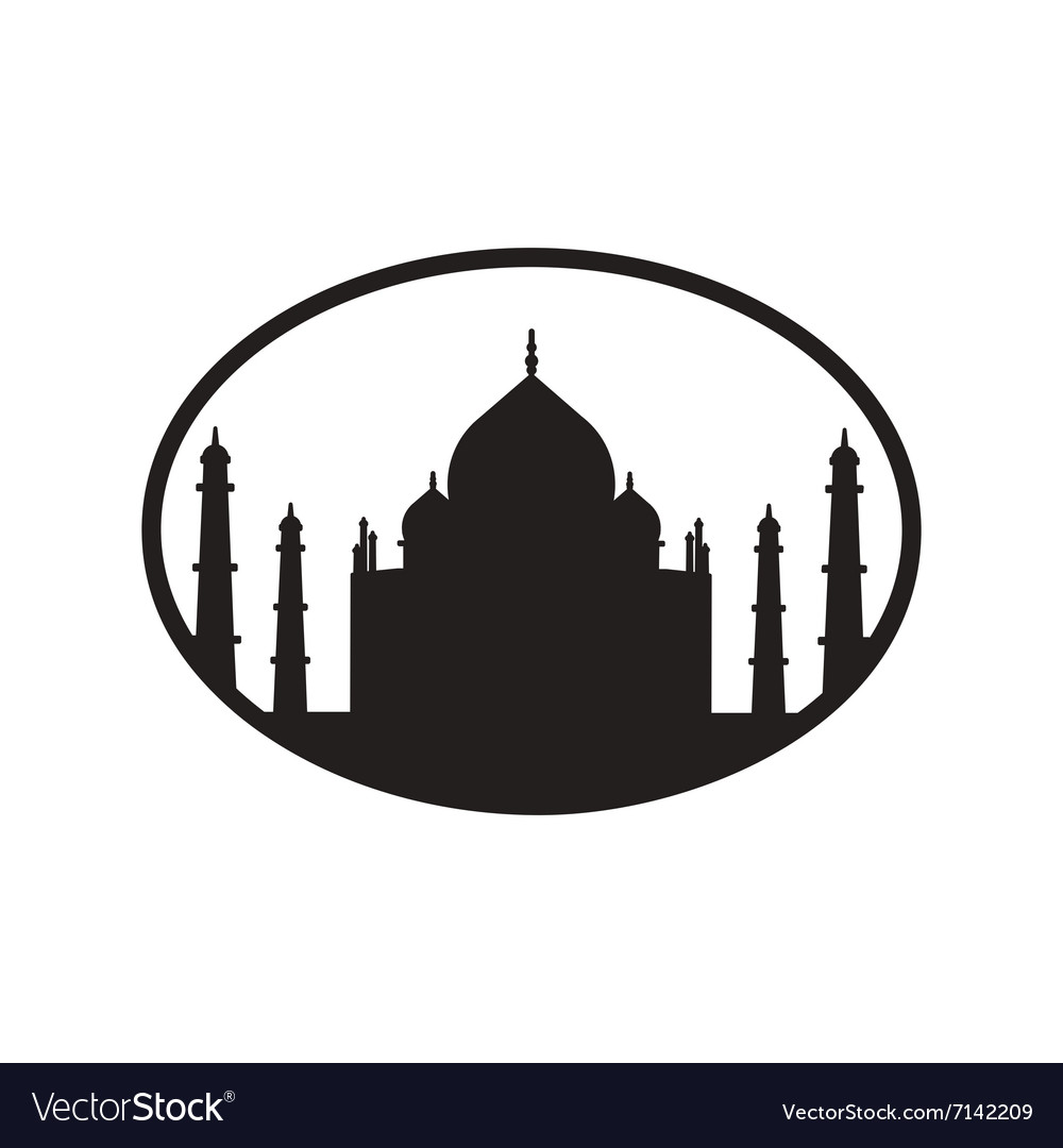 Stylish black and white icon Indian Taj Mahal.