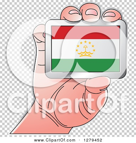 Clipart of a Caucasian Hand Holding a Tajikistan Flag.