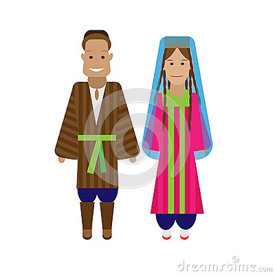 Tajikistan National Dress Stock Illustrations.
