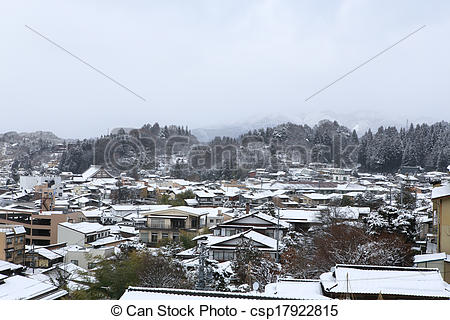 Stock Photography of View of the city takayama in Japan in the.