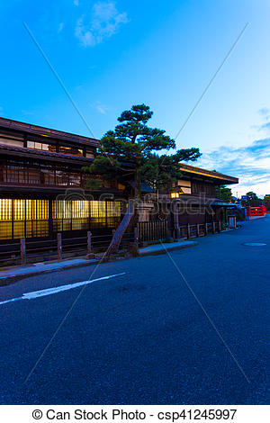 Stock Photographs of Takayama Historic Area Wooden Houses Evening.