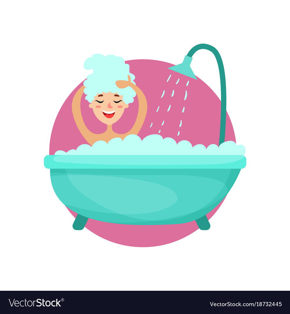 Girl taking a bubble bath and washing her hair.