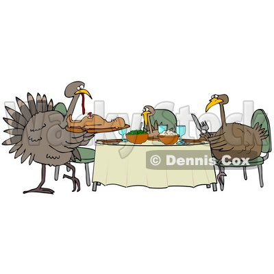Turkey Dinner Sitting At Table Clipart.