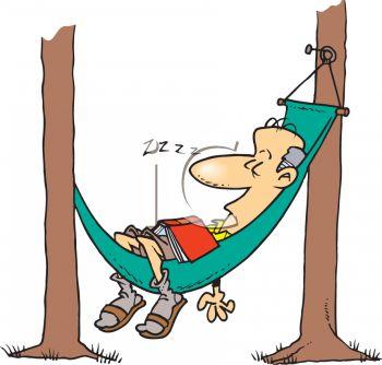Man Napping in a Hammock Cartoon.