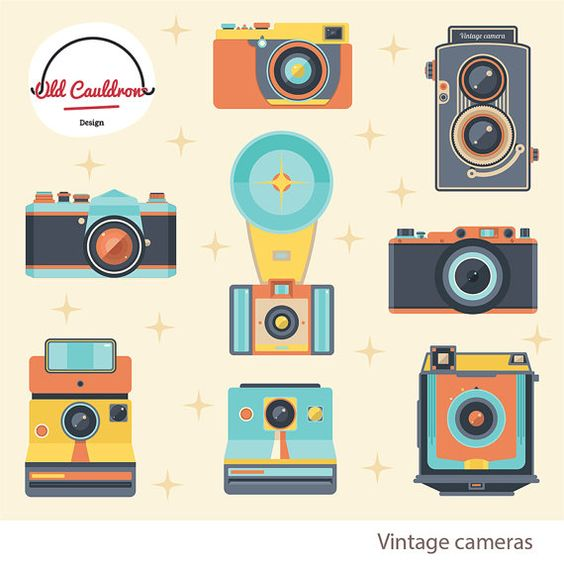 Vintage photo cameras clipart commercial use, camera clip art.