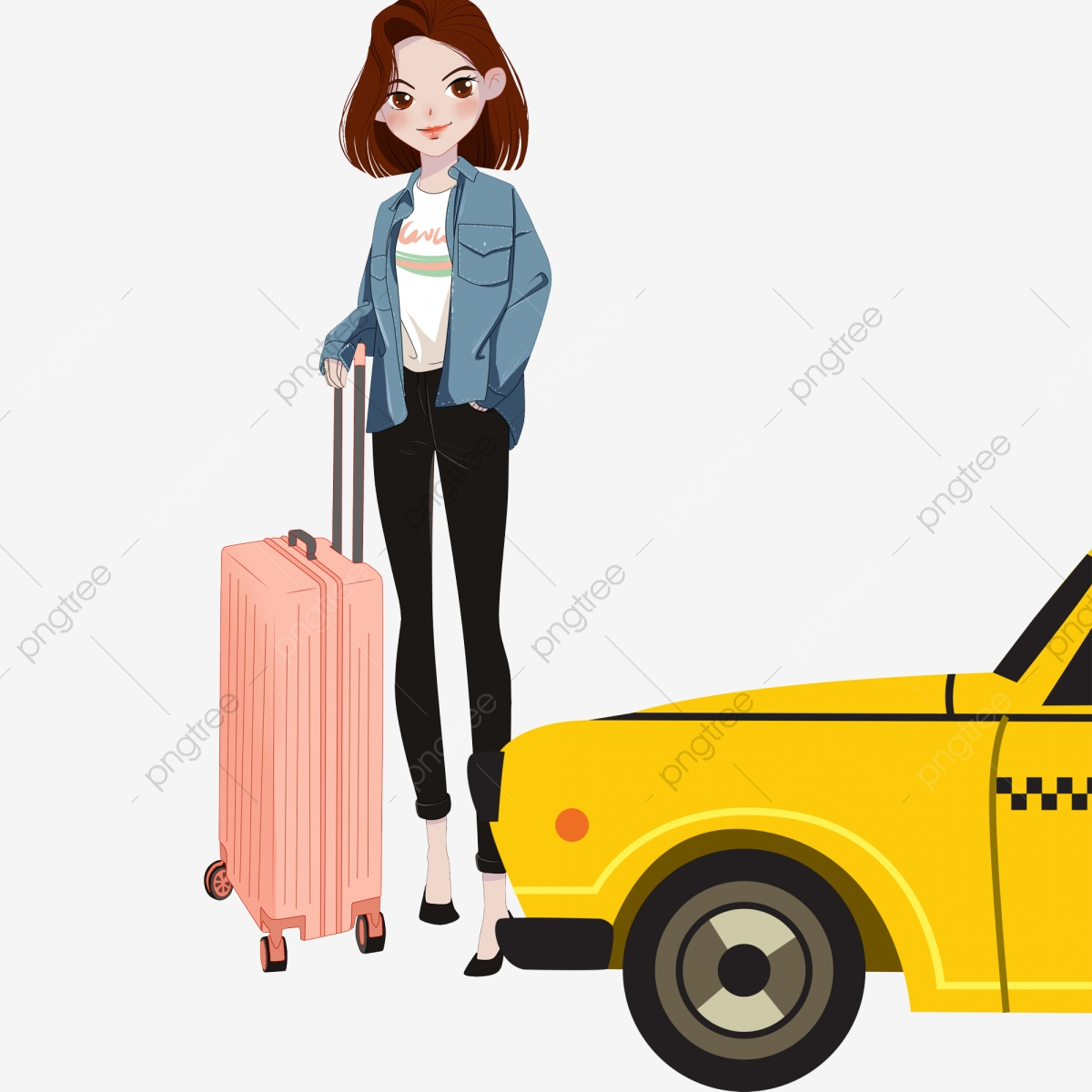 Girl Taking A Taxi Out, Cartoon, Illustration, Girl PNG.