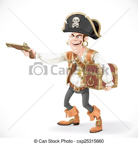 Clip Art Vector of pirate take aim a pistol and cuddle chest.