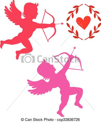 Vector Illustration of Cupids take aim isolated on white, vector.